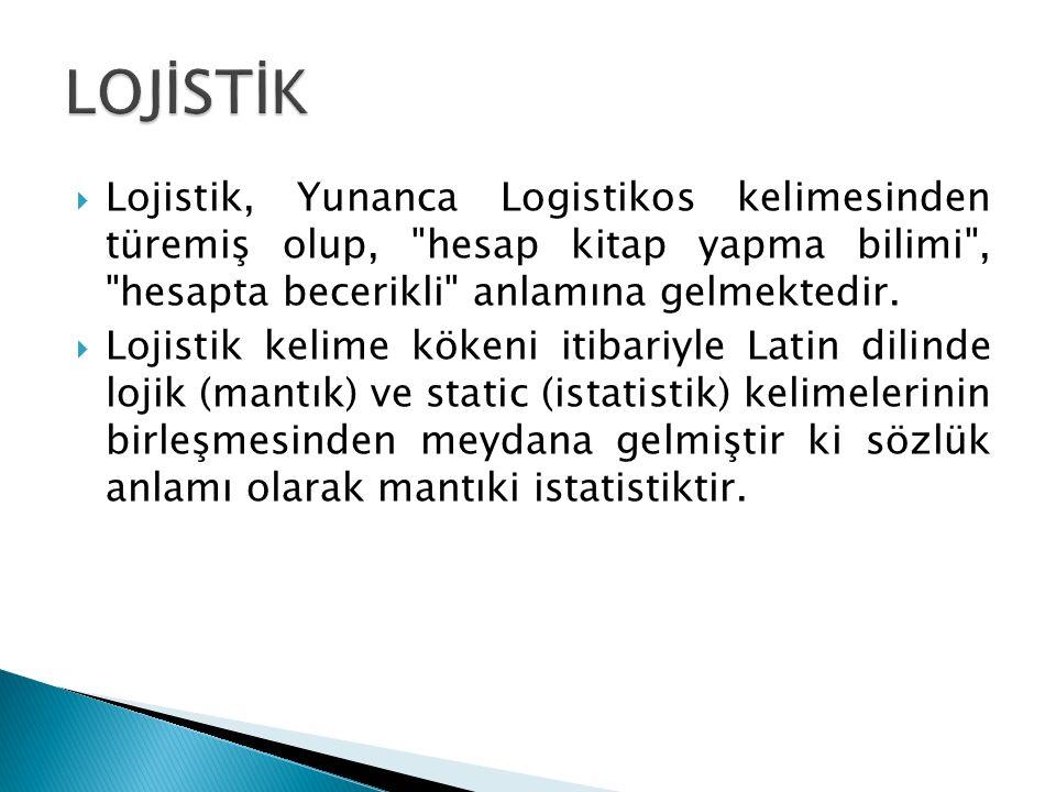  Lojistik, Yunanca Logistikos kelimesinden türemiş olup, hesap kitap yapma bilimi , hesapta becerikli anlamına gelmektedir.