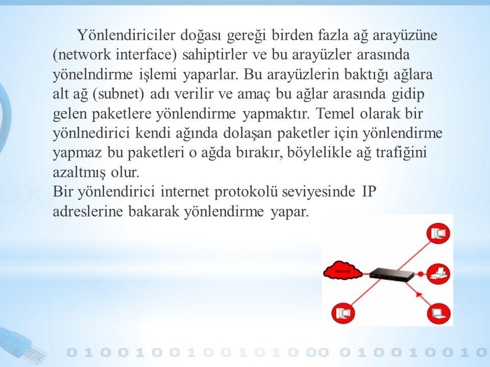 Yönlendiriciler doğası gereği birden fazla ağ arayüzüne (network interface) sahiptirler ve bu arayüzler arasında yönelndirme işlemi yaparlar. Bu arayü