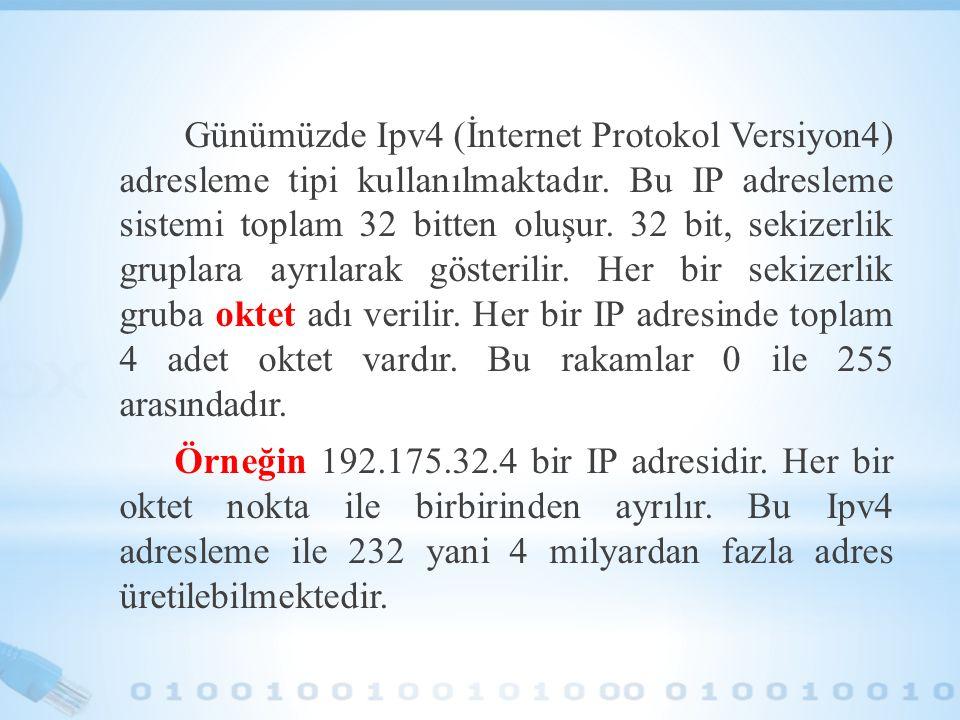 Günümüzde Ipv4 (İnternet Protokol Versiyon4) adresleme tipi kullanılmaktadır. Bu IP adresleme sistemi toplam 32 bitten oluşur. 32 bit, sekizerlik grup