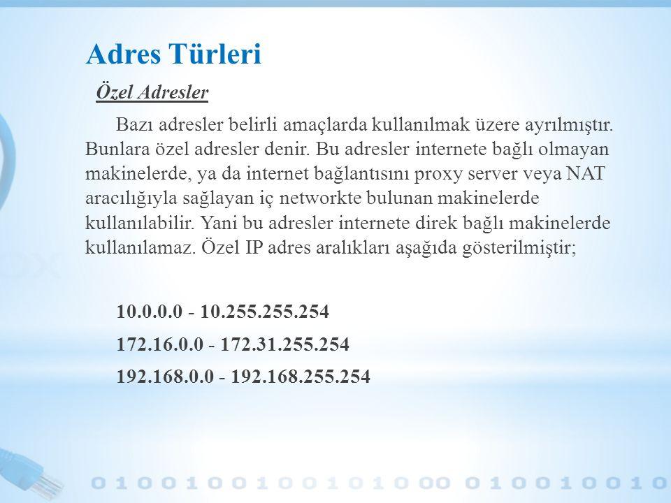 Adres Türleri Özel Adresler Bazı adresler belirli amaçlarda kullanılmak üzere ayrılmıştır. Bunlara özel adresler denir. Bu adresler internete bağlı ol