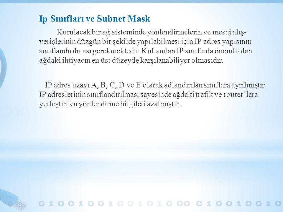 Ip Sınıfları ve Subnet Mask Kurulacak bir ağ sisteminde yönlendirmelerin ve mesaj alış- verişlerinin düzgün bir şekilde yapılabilmesi için IP adres ya