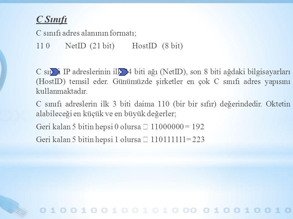 C Sınıfı C sınıfı adres alanının formatı; 11 0 NetID (21 bit) HostID (8 bit) C sınıfı IP adreslerinin ilk 24 biti ağı (NetID), son 8 biti ağdaki bilgi