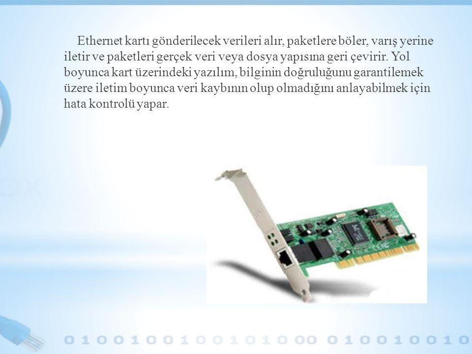 Ethernet kartı gönderilecek verileri alır, paketlere böler, varış yerine iletir ve paketleri gerçek veri veya dosya yapısına geri çevirir. Yol boyunca