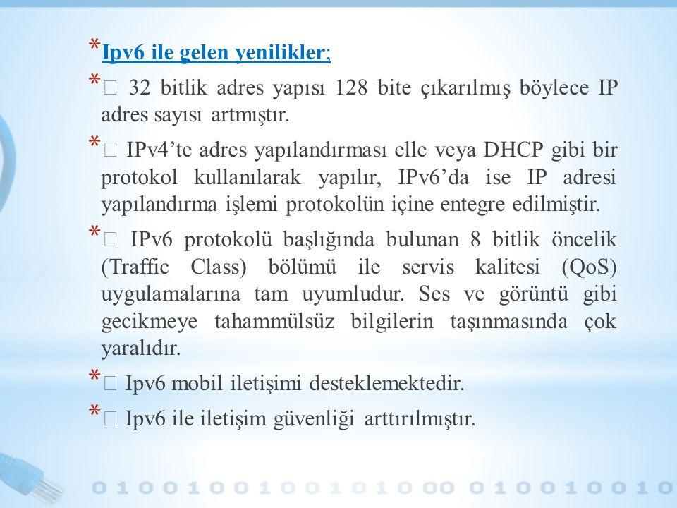 * Ipv6 ile gelen yenilikler; *  32 bitlik adres yapısı 128 bite çıkarılmış böylece IP adres sayısı artmıştır. *  IPv4'te adres yapılandırması elle v