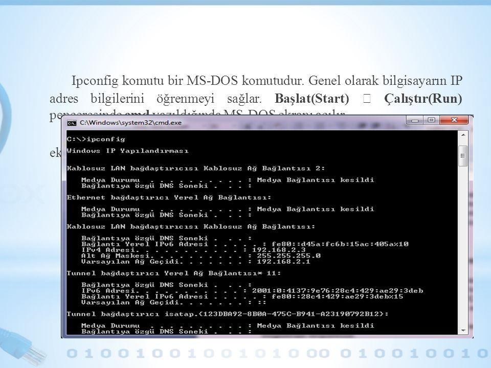 Ipconfig komutu bir MS-DOS komutudur. Genel olarak bilgisayarın IP adres bilgilerini öğrenmeyi sağlar. Başlat(Start)  Çalıştır(Run) penceresinde cmd