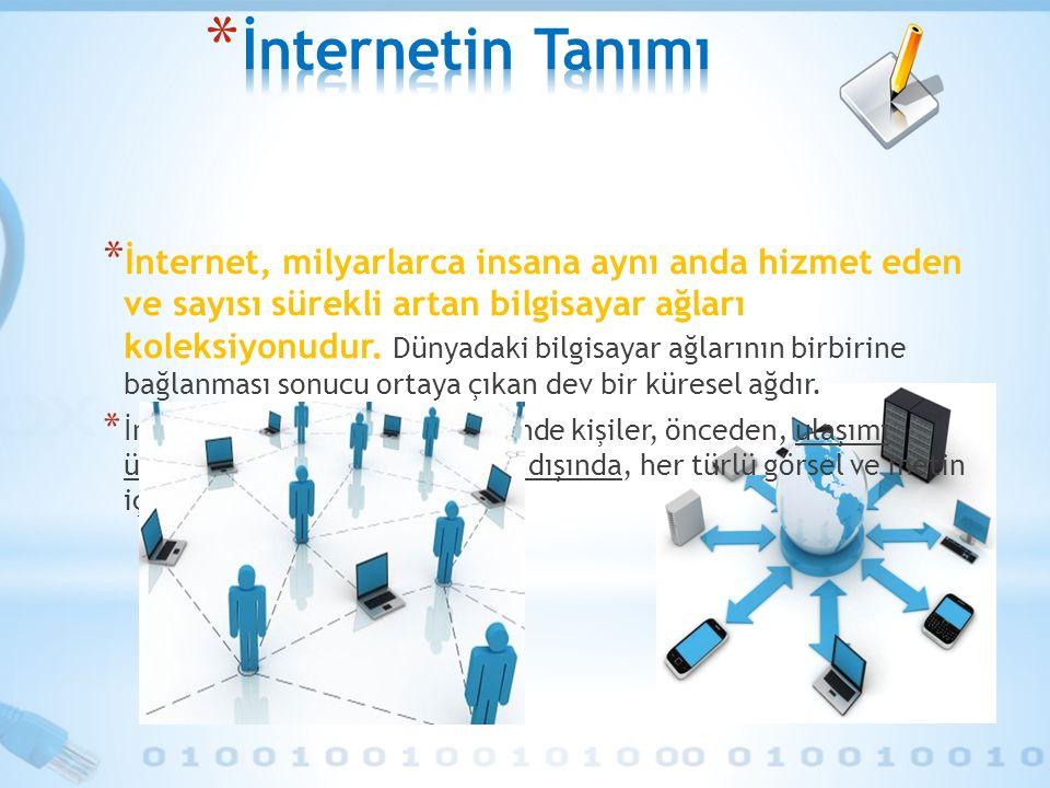 * İnternet, milyarlarca insana aynı anda hizmet eden ve sayısı sürekli artan bilgisayar ağları koleksiyonudur. Dünyadaki bilgisayar ağlarının birbirin