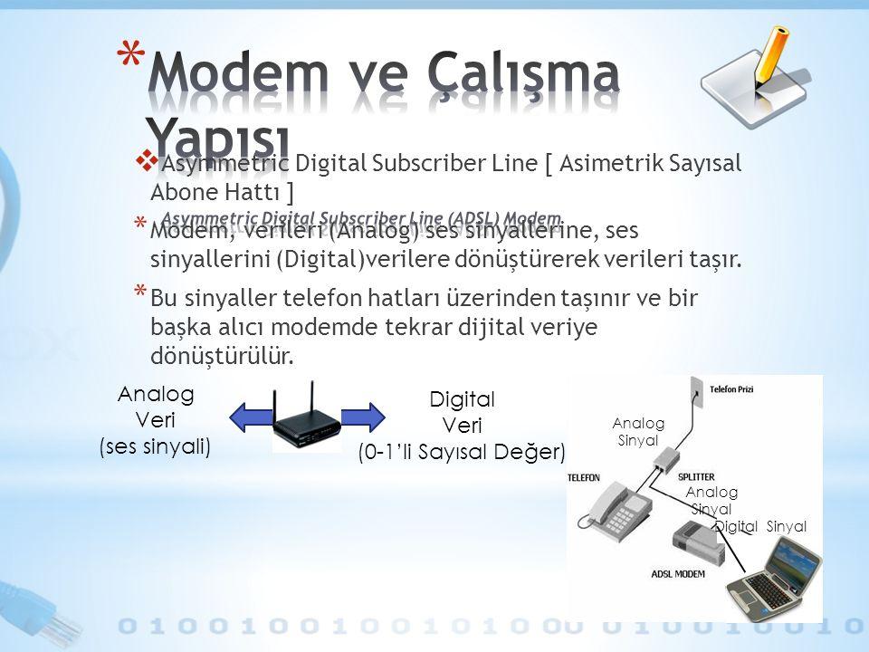  Asymmetric Digital Subscriber Line [ Asimetrik Sayısal Abone Hattı ] * Modem, verileri (Analog) ses sinyallerine, ses sinyallerini (Digital)verilere