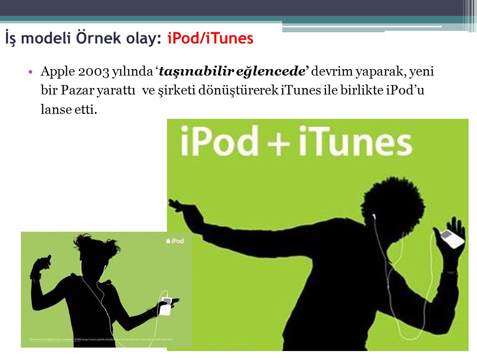Apple 2003 yılında 'taşınabilir eğlencede' devrim yaparak, yeni bir Pazar yarattı ve şirketi dönüştürerek iTunes ile birlikte iPod'u lanse etti. İş mo