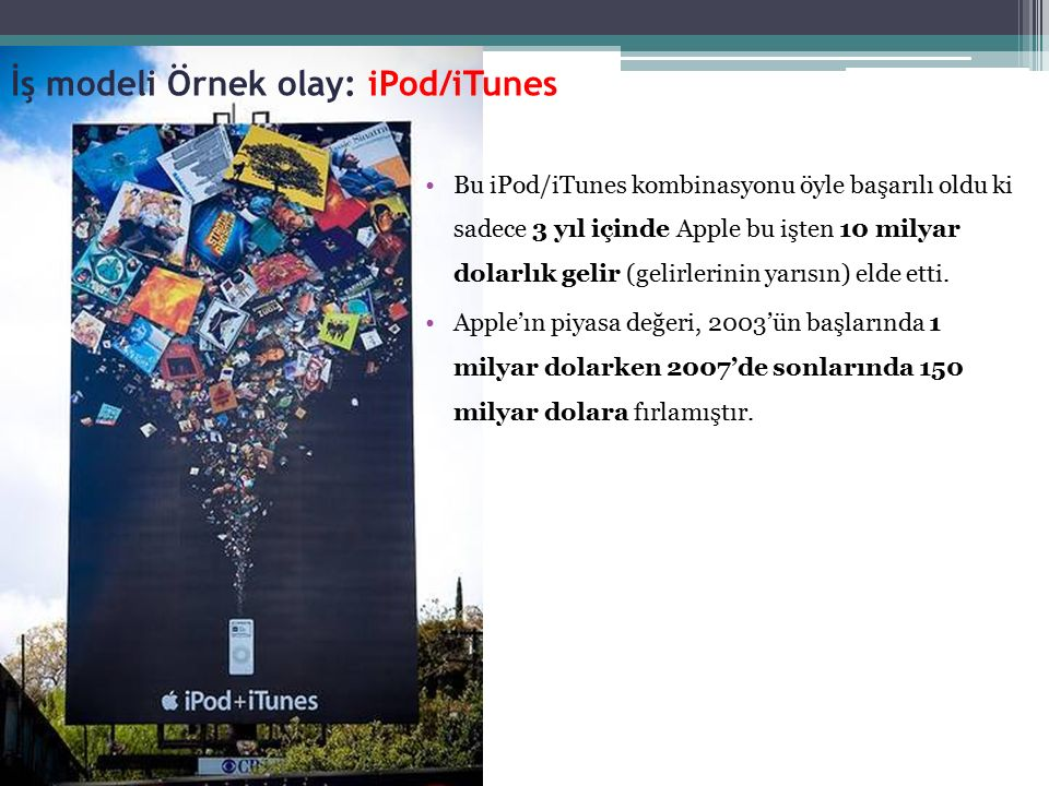 Bu iPod/iTunes kombinasyonu öyle başarılı oldu ki sadece 3 yıl içinde Apple bu işten 10 milyar dolarlık gelir (gelirlerinin yarısın) elde etti. Apple'