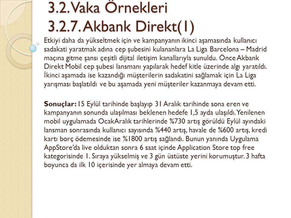 3.2. Vaka Örnekleri 3.2.7. Akbank Direkt(1) 3.2.