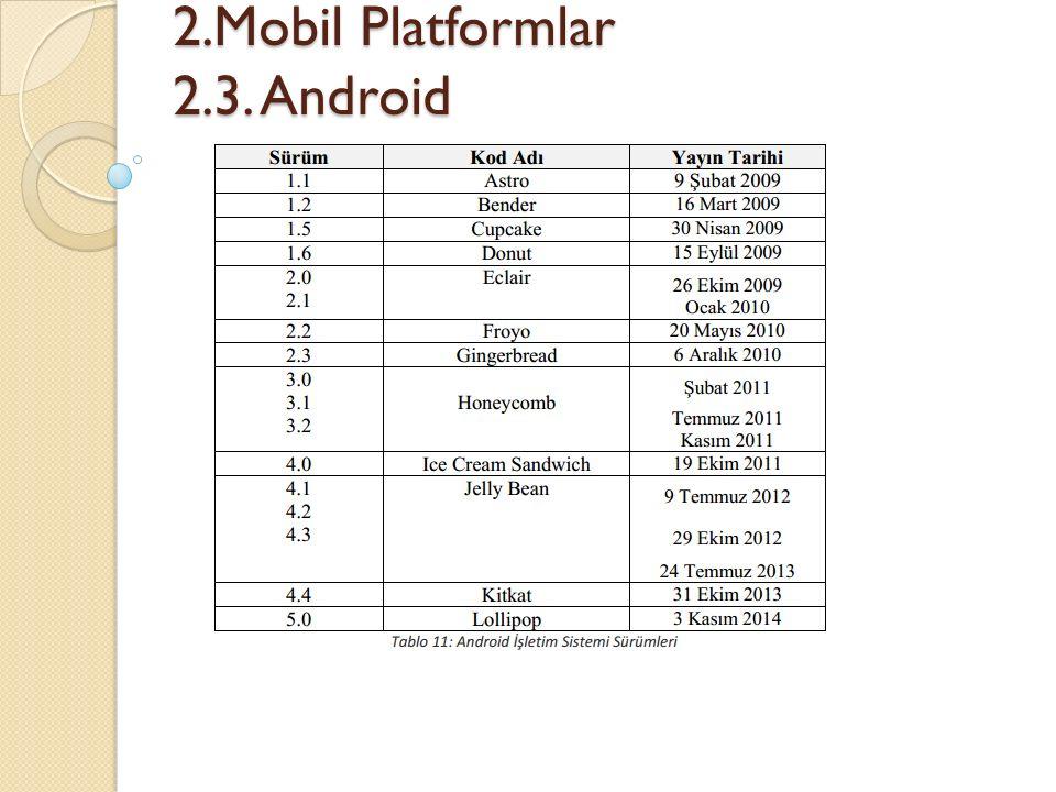 2.Mobil Platformlar 2.3. Android 2.Mobil Platformlar 2.3. Android