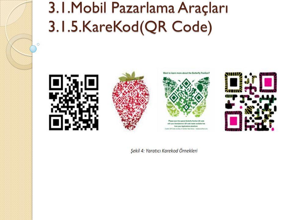 3.1.Mobil Pazarlama Araçları 3.1.5.KareKod(QR Code) 3.1.Mobil Pazarlama Araçları 3.1.5.KareKod(QR Code)