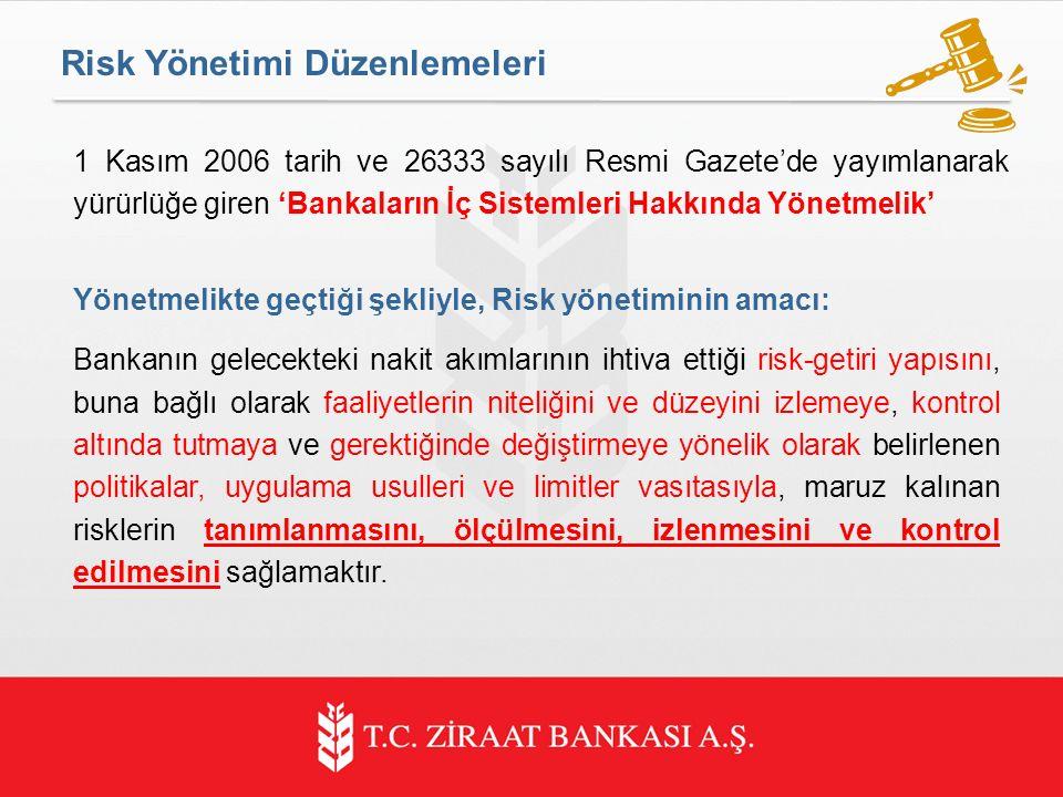 Risk Yönetimi Düzenlemeleri 1 Kasım 2006 tarih ve 26333 sayılı Resmi Gazete'de yayımlanarak yürürlüğe giren 'Bankaların İç Sistemleri Hakkında Yönetmelik' Yönetmelikte geçtiği şekliyle, Risk yönetiminin amacı: Bankanın gelecekteki nakit akımlarının ihtiva ettiği risk-getiri yapısını, buna bağlı olarak faaliyetlerin niteliğini ve düzeyini izlemeye, kontrol altında tutmaya ve gerektiğinde değiştirmeye yönelik olarak belirlenen politikalar, uygulama usulleri ve limitler vasıtasıyla, maruz kalınan risklerin tanımlanmasını, ölçülmesini, izlenmesini ve kontrol edilmesini sağlamaktır.