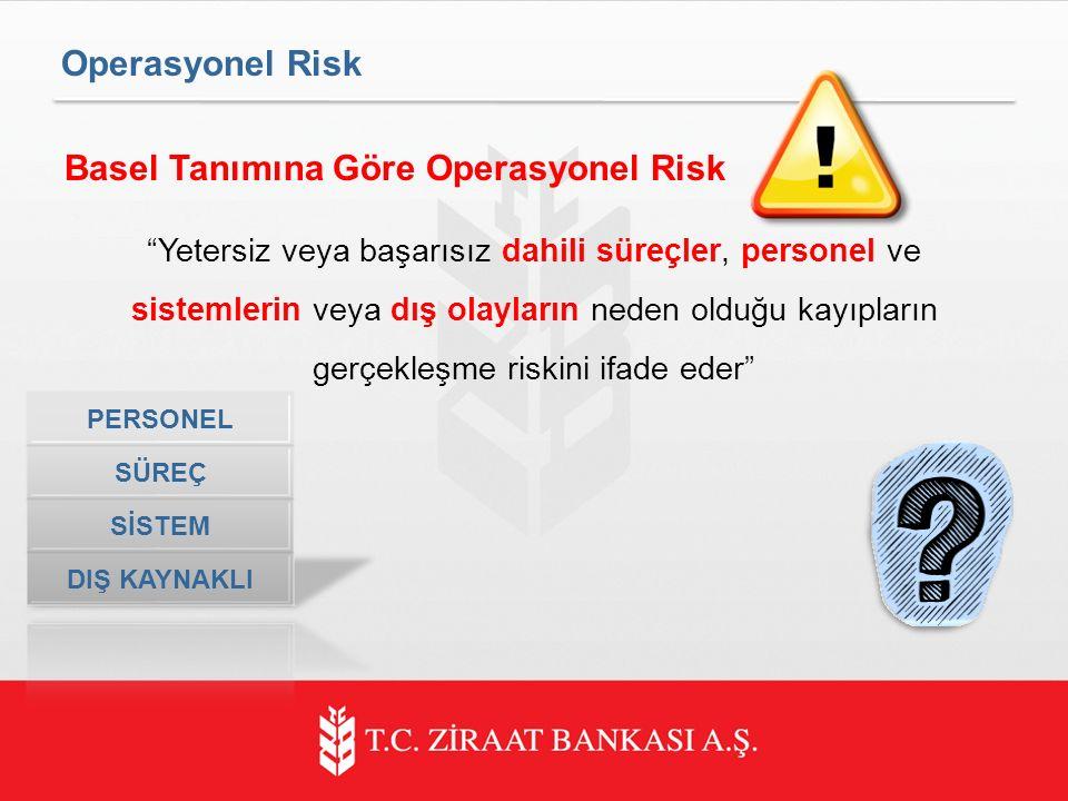 Operasyonel Risk Basel Tanımına Göre Operasyonel Risk Yetersiz veya başarısız dahili süreçler, personel ve sistemlerin veya dış olayların neden olduğu kayıpların gerçekleşme riskini ifade eder