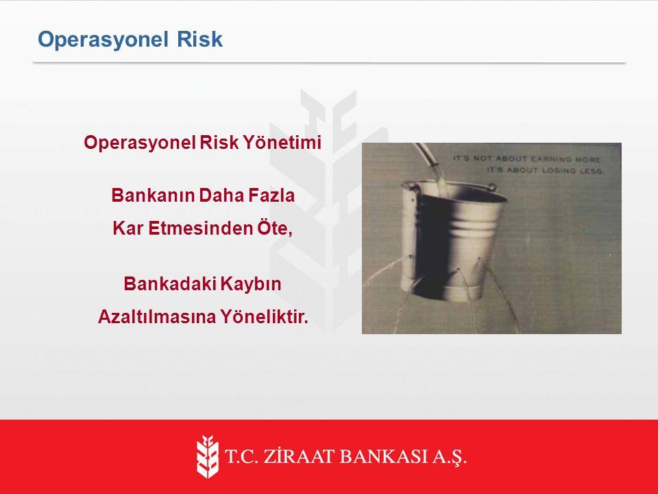 Operasyonel Risk Operasyonel Risk Yönetimi Bankanın Daha Fazla Kar Etmesinden Öte, Bankadaki Kaybın Azaltılmasına Yöneliktir.