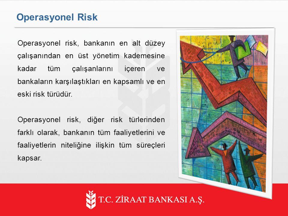 Operasyonel Risk Operasyonel risk, bankanın en alt düzey çalışanından en üst yönetim kademesine kadar tüm çalışanlarını içeren ve bankaların karşılaştıkları en kapsamlı ve en eski risk türüdür.
