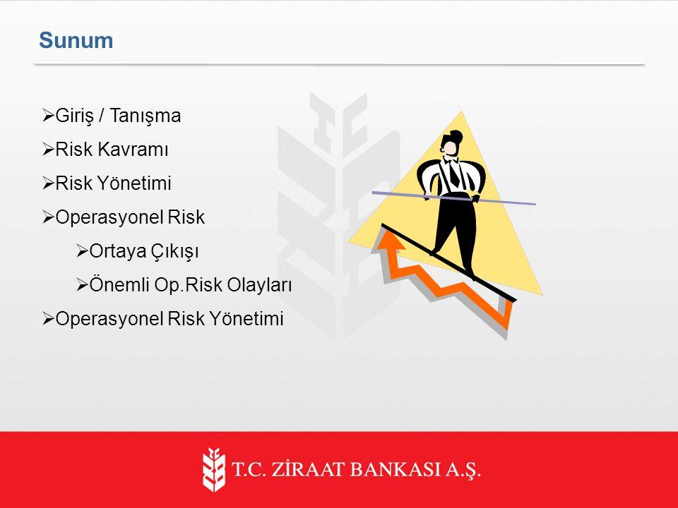  Giriş / Tanışma  Risk Kavramı  Risk Yönetimi  Operasyonel Risk  Ortaya Çıkışı  Önemli Op.Risk Olayları  Operasyonel Risk Yönetimi Sunum