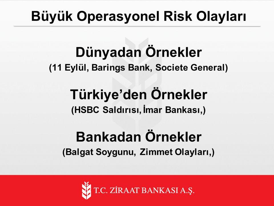 Büyük Operasyonel Risk Olayları Dünyadan Örnekler (11 Eylül, Barings Bank, Societe General) Türkiye'den Örnekler (HSBC Saldırısı, İmar Bankası,) Bankadan Örnekler (Balgat Soygunu, Zimmet Olayları,)