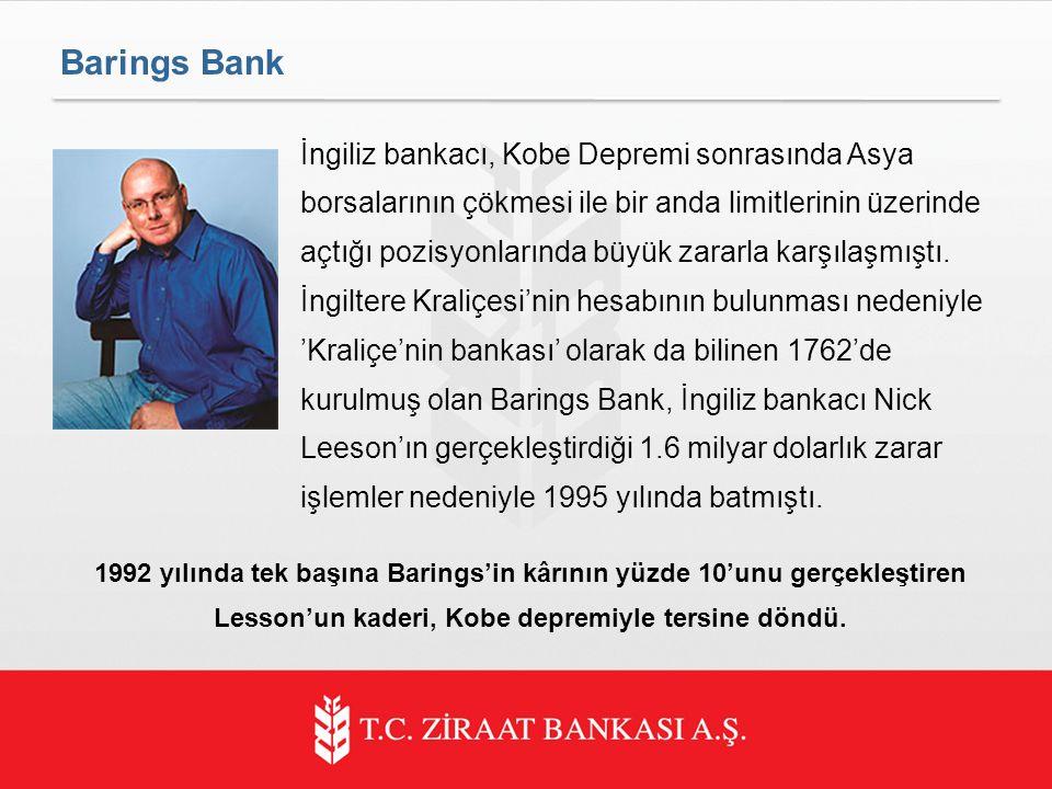 Barings Bank İngiliz bankacı, Kobe Depremi sonrasında Asya borsalarının çökmesi ile bir anda limitlerinin üzerinde açtığı pozisyonlarında büyük zararla karşılaşmıştı.