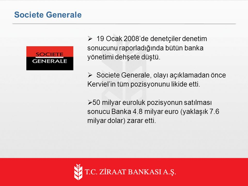  19 Ocak 2008'de denetçiler denetim sonucunu raporladığında bütün banka yönetimi dehşete düştü.