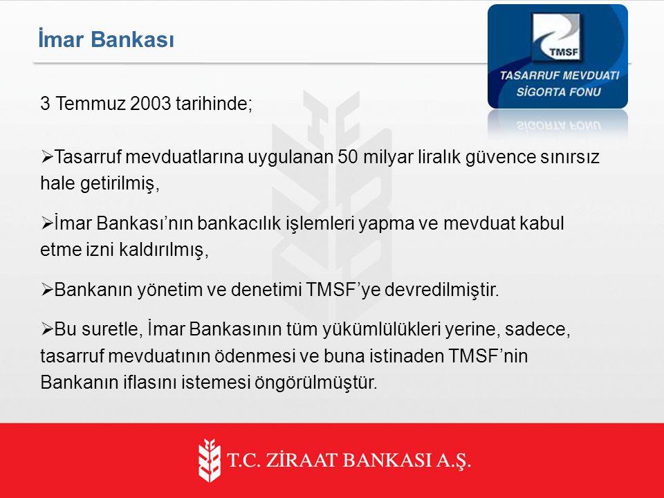 3 Temmuz 2003 tarihinde;  Tasarruf mevduatlarına uygulanan 50 milyar liralık güvence sınırsız hale getirilmiş,  İmar Bankası'nın bankacılık işlemleri yapma ve mevduat kabul etme izni kaldırılmış,  Bankanın yönetim ve denetimi TMSF'ye devredilmiştir.