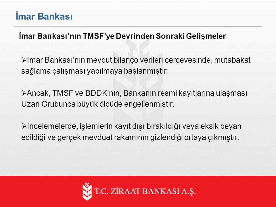  İmar Bankası'nın mevcut bilanço verileri çerçevesinde, mutabakat sağlama çalışması yapılmaya başlanmıştır.