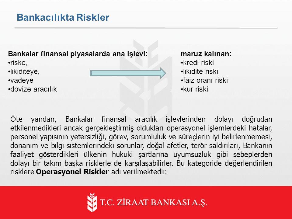 Bankalar finansal piyasalarda ana işlevi: riske, likiditeye, vadeye dövize aracılık Ö te yandan, Bankalar finansal aracılık işlevlerinden dolayı doğrudan etkilenmedikleri ancak ger ç ekleştirmiş oldukları operasyonel işlemlerdeki hatalar, personel yapısının yetersizliği, g ö rev, sorumluluk ve s ü re ç lerin iyi belirlenmemesi, donanım ve bilgi sistemlerindeki sorunlar, doğal afetler, ter ö r saldırıları, Bankanın faaliyet g ö sterdikleri ü lkenin hukuki şartlarına uyumsuzluk gibi sebeplerden dolayı bir takım başka risklerle de karşılaşabilirler.