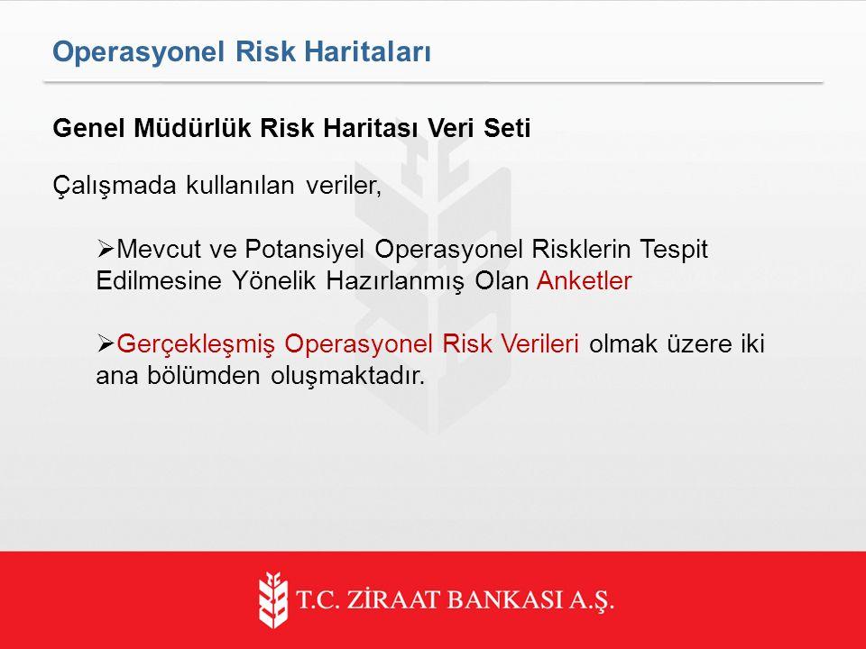 Genel Müdürlük Risk Haritası Veri Seti Çalışmada kullanılan veriler,  Mevcut ve Potansiyel Operasyonel Risklerin Tespit Edilmesine Yönelik Hazırlanmış Olan Anketler  Gerçekleşmiş Operasyonel Risk Verileri olmak üzere iki ana bölümden oluşmaktadır.