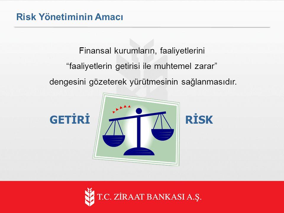 Risk Yönetiminin Amacı Finansal kurumların, faaliyetlerini faaliyetlerin getirisi ile muhtemel zarar dengesini gözeterek yürütmesinin sağlanmasıdır.