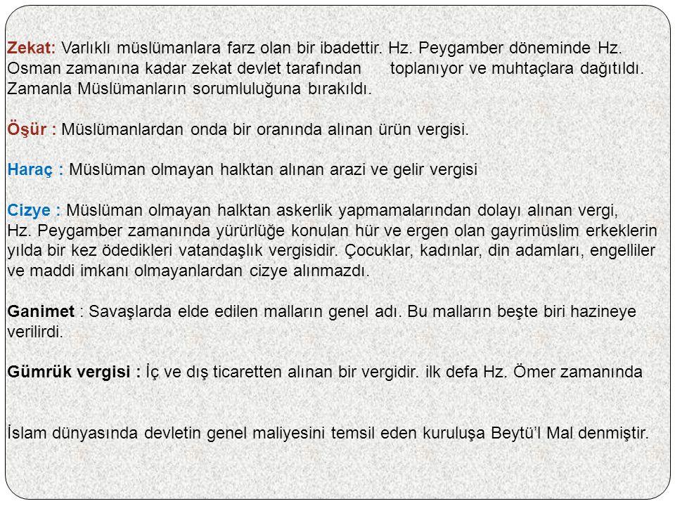 Zekat: Varlıklı müslümanlara farz olan bir ibadettir.