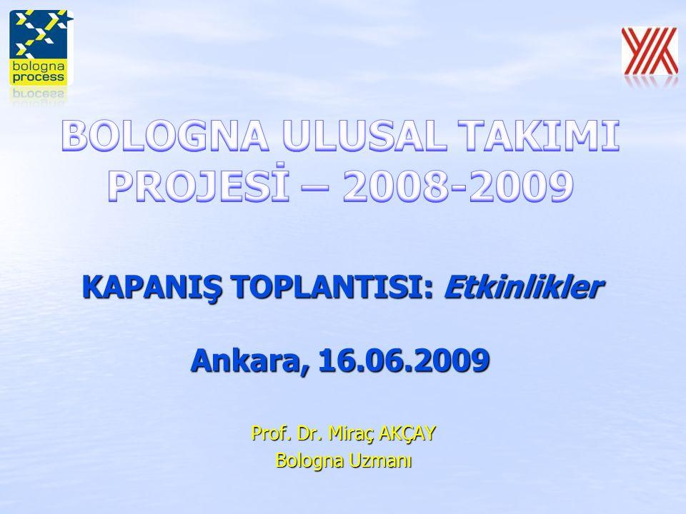 Çalıştay 3: 9-10 Nisan, 2009 - Ege Üniversitesi, İzmir Katılımcı Kitle: Fen, Edebiyat ve Fen-Edebiyat fakülteleri dekanları Düzenleme: Sunum: Bologna Süreci'nde Temel konular (Prof.