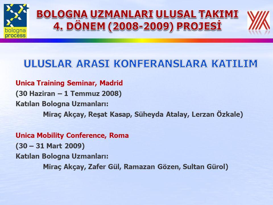 Unica Training Seminar, Madrid (30 Haziran – 1 Temmuz 2008) Katılan Bologna Uzmanları: Miraç Akçay, Reşat Kasap, Süheyda Atalay, Lerzan Özkale) Unica Mobility Conference, Roma (30 – 31 Mart 2009) Katılan Bologna Uzmanları: Miraç Akçay, Zafer Gül, Ramazan Gözen, Sultan Gürol)