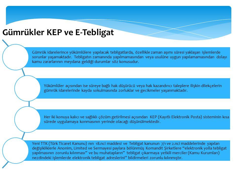 Gümrükler KEP ve E-Tebligat Gümrük idarelerince yükümlülere yapılacak tebligatlarda, özellikle zaman aşımı süresi yaklaşan işlemlerde sorunlar yaşamaktadır.