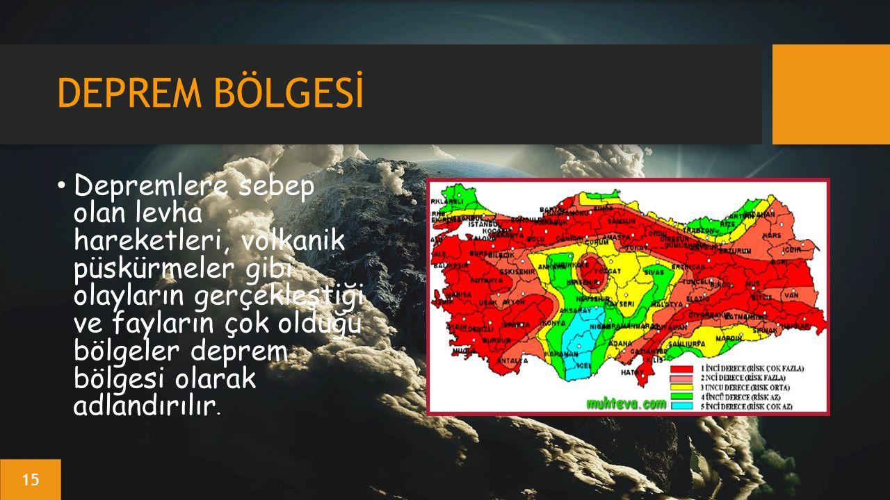 DEPREM BÖLGESİ Depremlere sebep olan levha hareketleri, volkanik püskürmeler gibi olayların gerçekleştiği ve fayların çok olduğu bölgeler deprem bölgesi olarak adlandırılır.