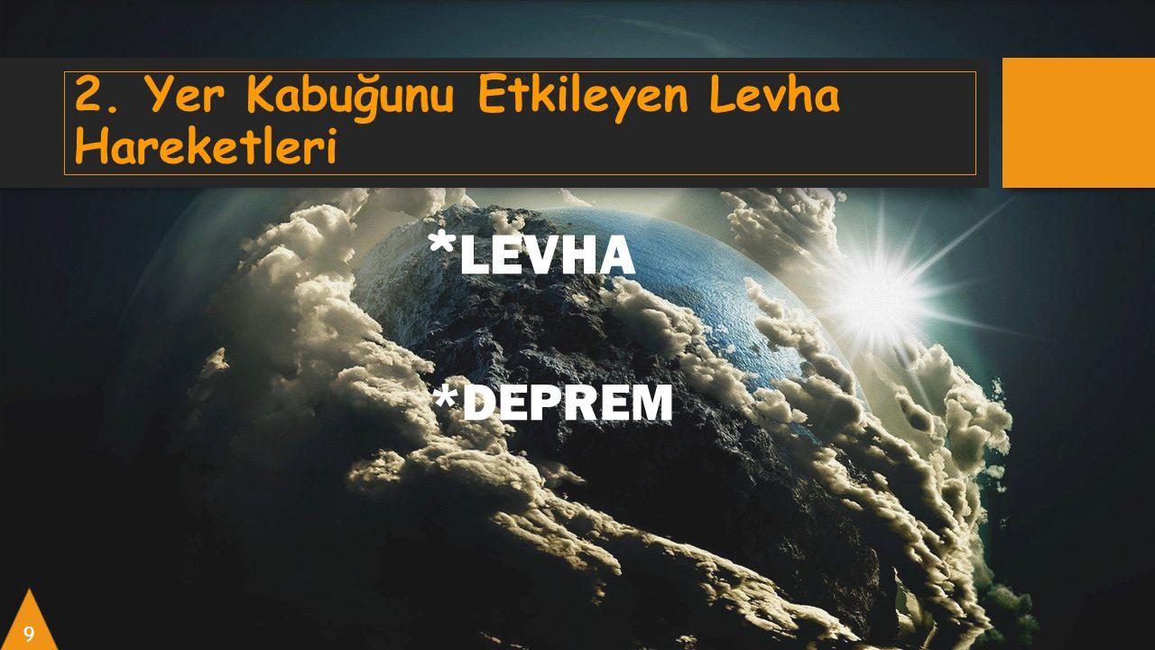2. Yer Kabuğunu Etkileyen Levha Hareketleri * LEVHA *DEPREM 9
