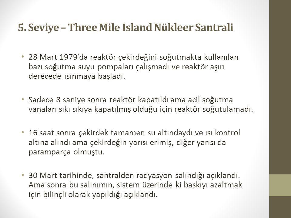 5. Seviye – Three Mile Island Nükleer Santrali 28 Mart 1979'da reaktör çekirdeğini soğutmakta kullanılan bazı soğutma suyu pompaları çalışmadı ve reak