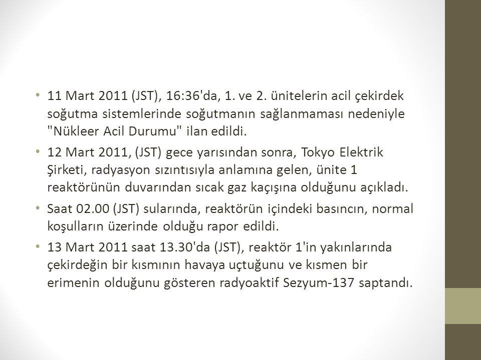 11 Mart 2011 (JST), 16:36'da, 1. ve 2. ünitelerin acil çekirdek soğutma sistemlerinde soğutmanın sağlanmaması nedeniyle