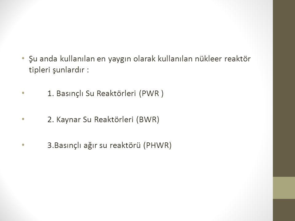 Şu anda kullanılan en yaygın olarak kullanılan nükleer reaktör tipleri şunlardır : 1. Basınçlı Su Reaktörleri (PWR ) 2. Kaynar Su Reaktörleri (BWR) 3.