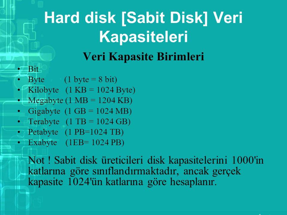 Hard disk [Sabit Disk] Veri Kapasiteleri Veri Kapasite Birimleri Bit Byte (1 byte = 8 bit) Kilobyte (1 KB = 1024 Byte) Megabyte (1 MB = 1204 KB) Gigab