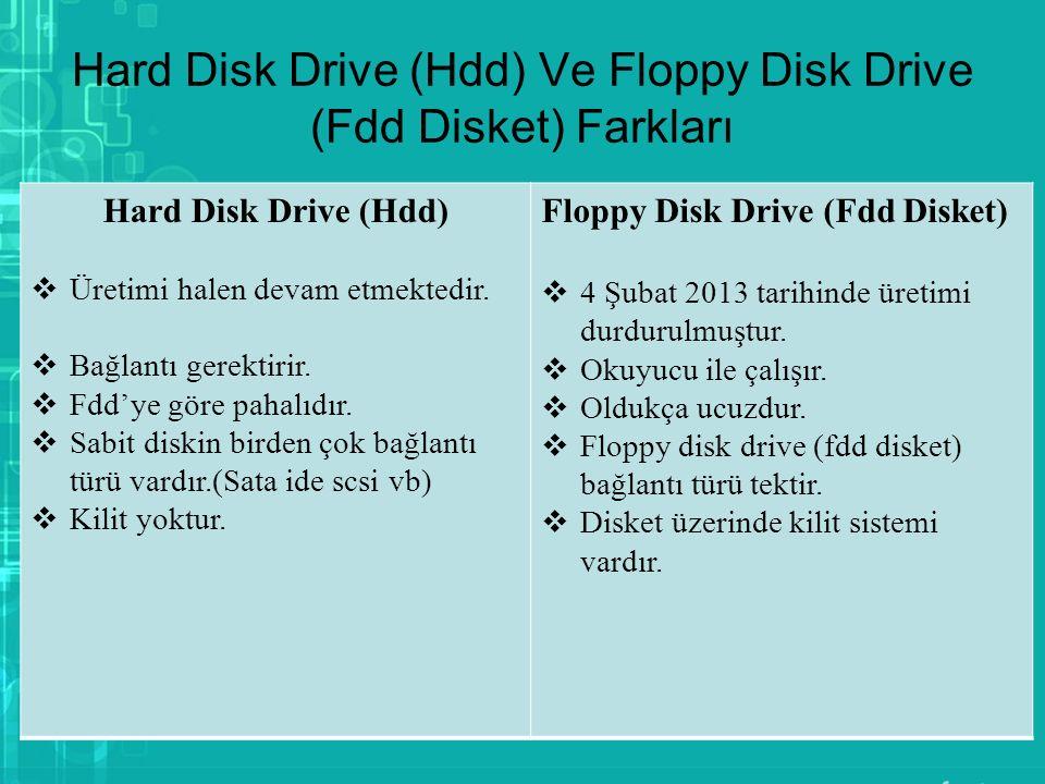 Hard Disk Drive (Hdd) Ve Floppy Disk Drive (Fdd Disket) Farkları Hard Disk Drive (Hdd)  Üretimi halen devam etmektedir.  Bağlantı gerektirir.  Fdd'