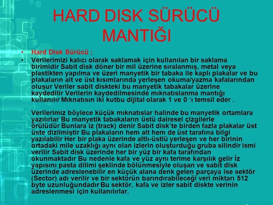 HARD DISK SÜRÜCÜ MANTIĞI Hard Disk Sürücü ; Verilerimizi kalıcı olarak saklamak için kullanılan bir saklama birimidir Sabit disk döner bir mil üzerine