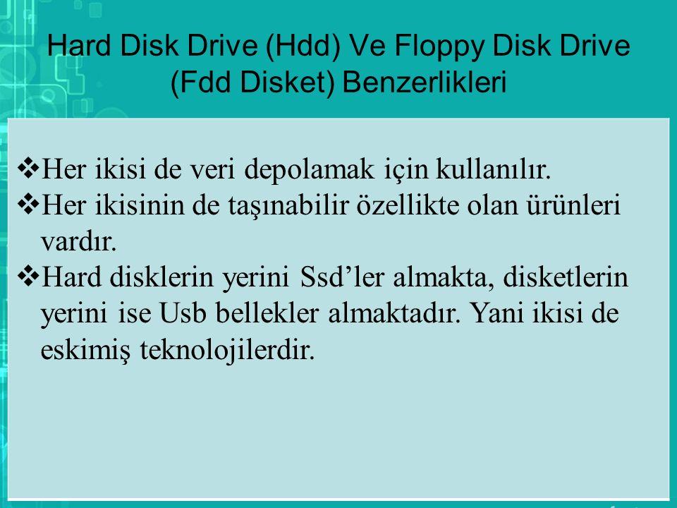 Hard Disk Drive (Hdd) Ve Floppy Disk Drive (Fdd Disket) Benzerlikleri  Her ikisi de veri depolamak için kullanılır.  Her ikisinin de taşınabilir öze