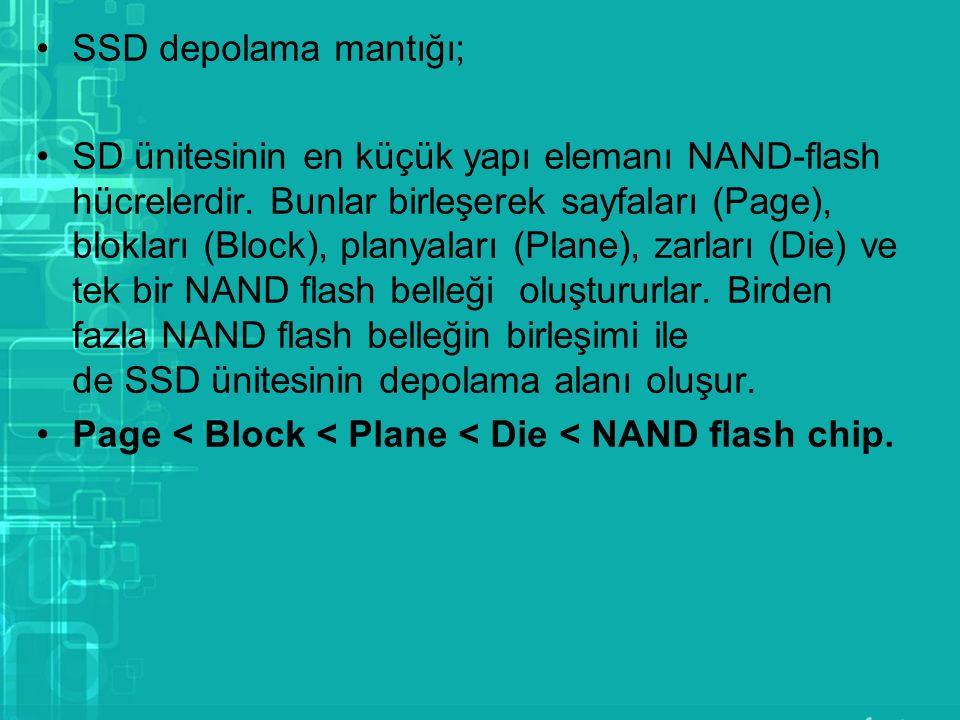 SSD depolama mantığı; SD ünitesinin en küçük yapı elemanı NAND-flash hücrelerdir. Bunlar birleşerek sayfaları (Page), blokları (Block), planyaları (Pl