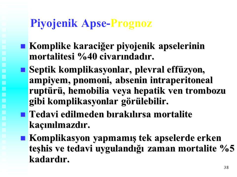 38 Piyojenik Apse-Prognoz Komplike karaciğer piyojenik apselerinin mortalitesi %40 civarındadır.