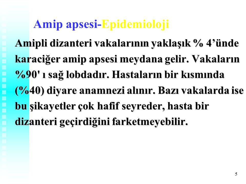 5 Amip apsesi-Epidemioloji Amipli dizanteri vakalarının yaklaşık % 4'ünde karaciğer amip apsesi meydana gelir.