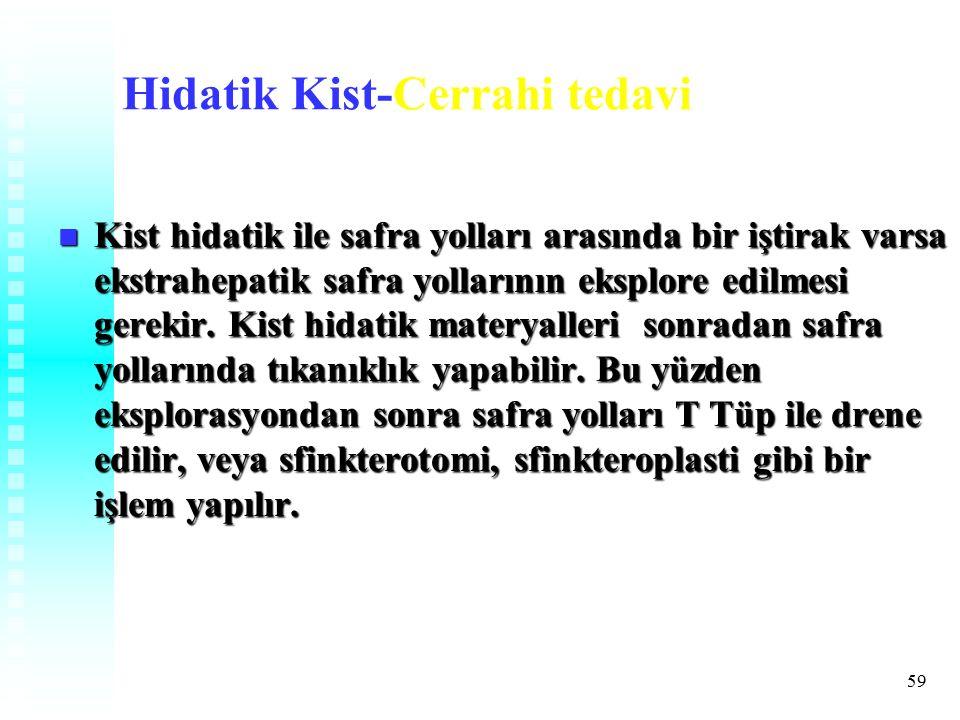 59 Hidatik Kist-Cerrahi tedavi Kist hidatik ile safra yolları arasında bir iştirak varsa ekstrahepatik safra yollarının eksplore edilmesi gerekir.