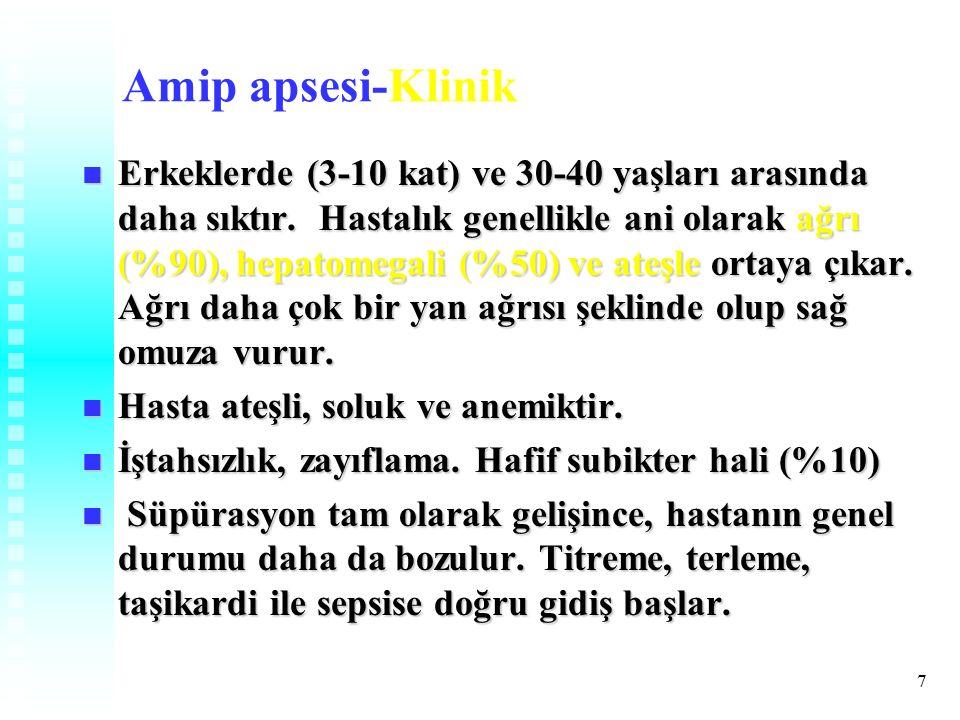 7 Amip apsesi-Klinik Erkeklerde (3-10 kat) ve 30-40 yaşları arasında daha sıktır.