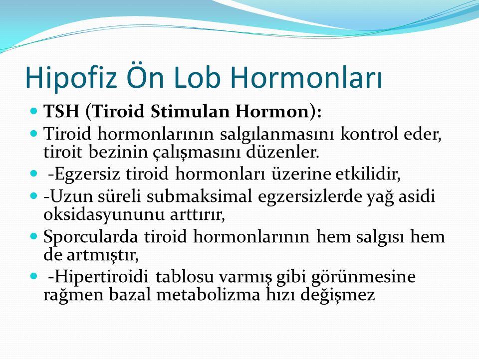 Hipofiz Ön Lob Hormonları TSH (Tiroid Stimulan Hormon): Tiroid hormonlarının salgılanmasını kontrol eder, tiroit bezinin çalışmasını düzenler. -Egzers