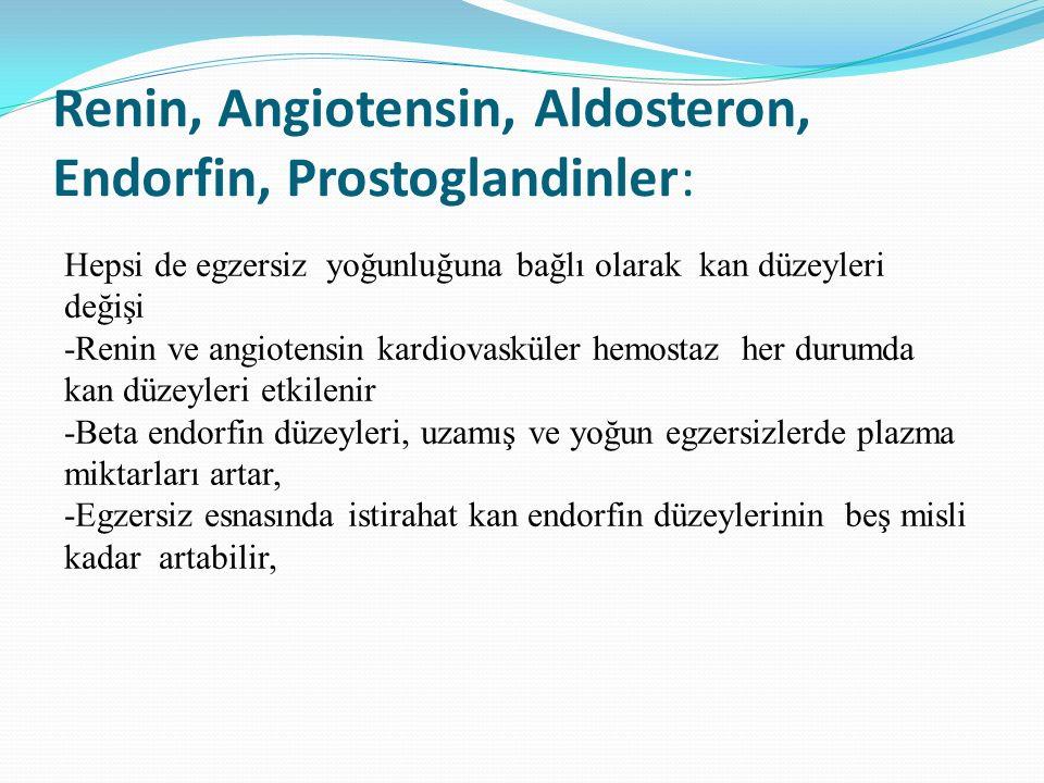Renin, Angiotensin, Aldosteron, Endorfin, Prostoglandinler: Hepsi de egzersiz yoğunluğuna bağlı olarak kan düzeyleri değişi -Renin ve angiotensin kard