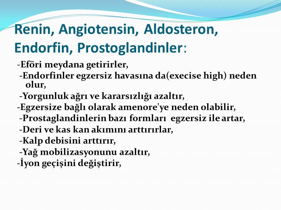 Renin, Angiotensin, Aldosteron, Endorfin, Prostoglandinler: -Eföri meydana getirirler, -Endorfinler egzersiz havasına da(execise high) neden olur, -Yo